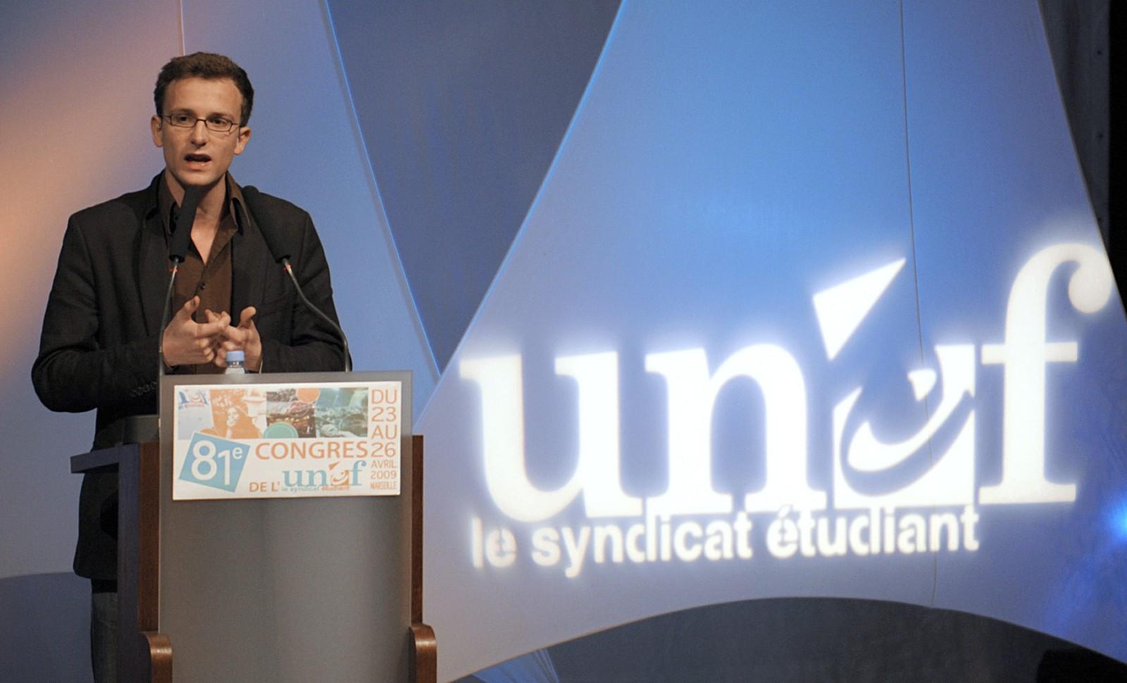 Jean-Baptiste Prévost, président de l'Union nationale des étudiants de France (UNEF) entre 2007 et 2011 ©Anne-Christine POUJOULAT/ AFP
