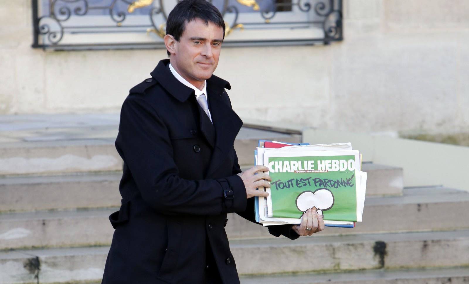 Manuel Valls, 14 janvier 2015. Une partie importante de la gauche conspue l'ancien Premier ministre et ne le considère plus comme de son camp politique © Patrick KOVARIK/ AFP