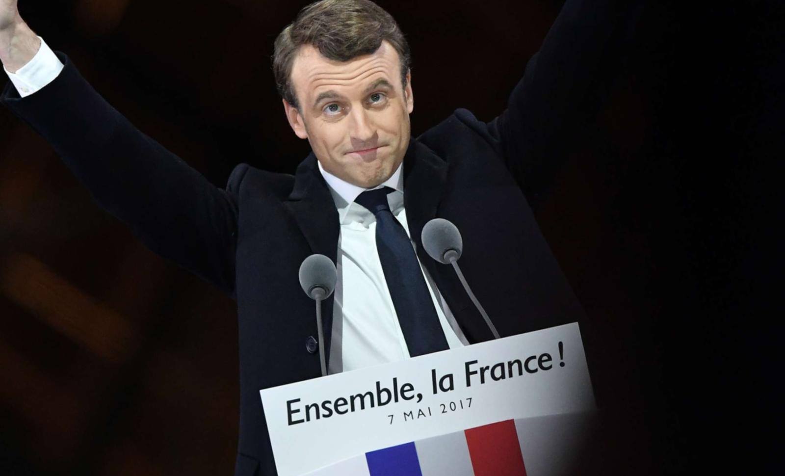 Emmanuel Macron le soir de son élection, au Louvre, le 7 mai 2017 © DAVID NIVIERE/SIPA Numéro de reportage: 00805555_000004