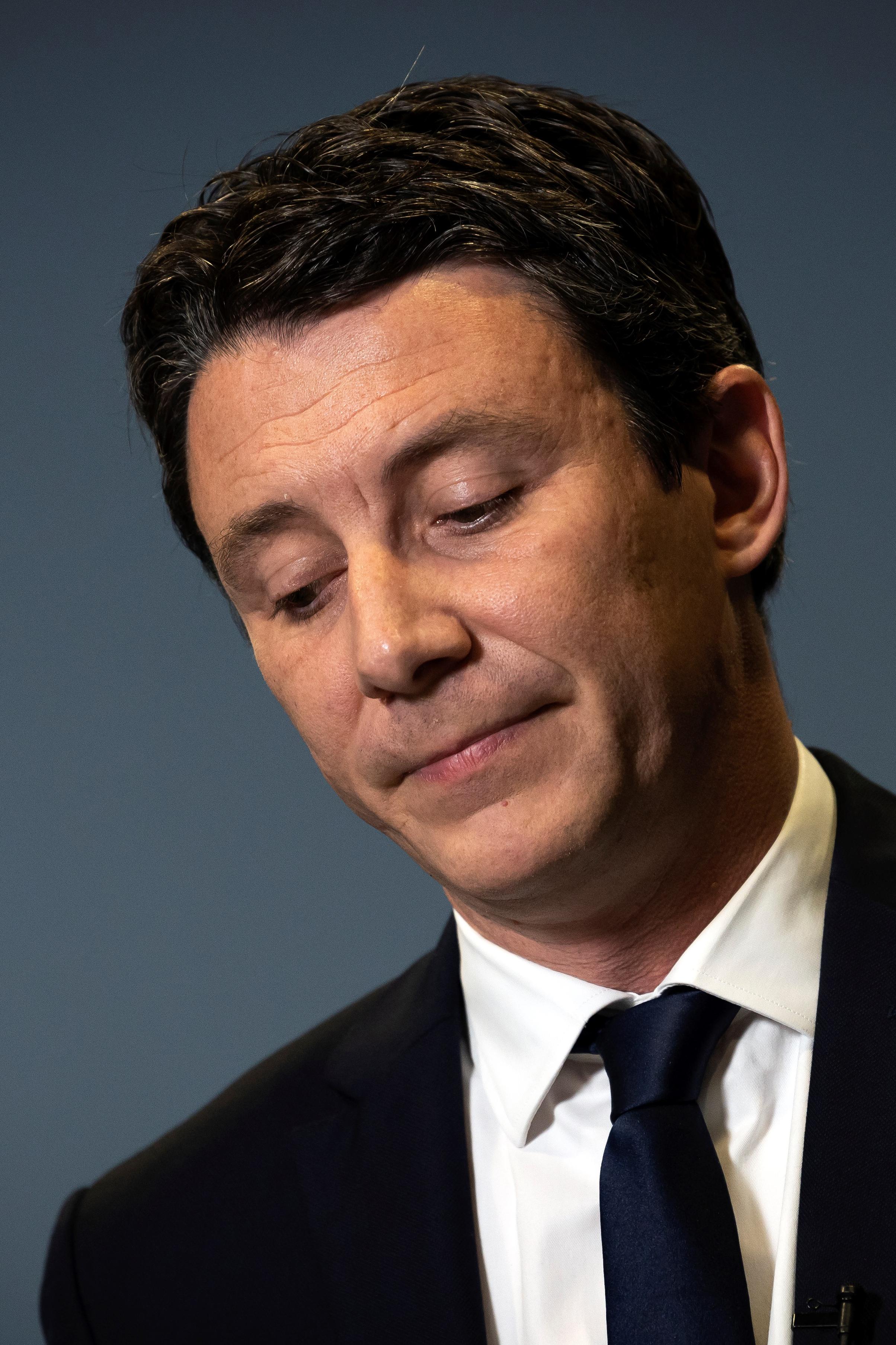benjamin Griveaux, après l'annonce du retrait de sa candidature à la mairie de Paris, 14 février 2020. © BONAVENTURE/ AFP