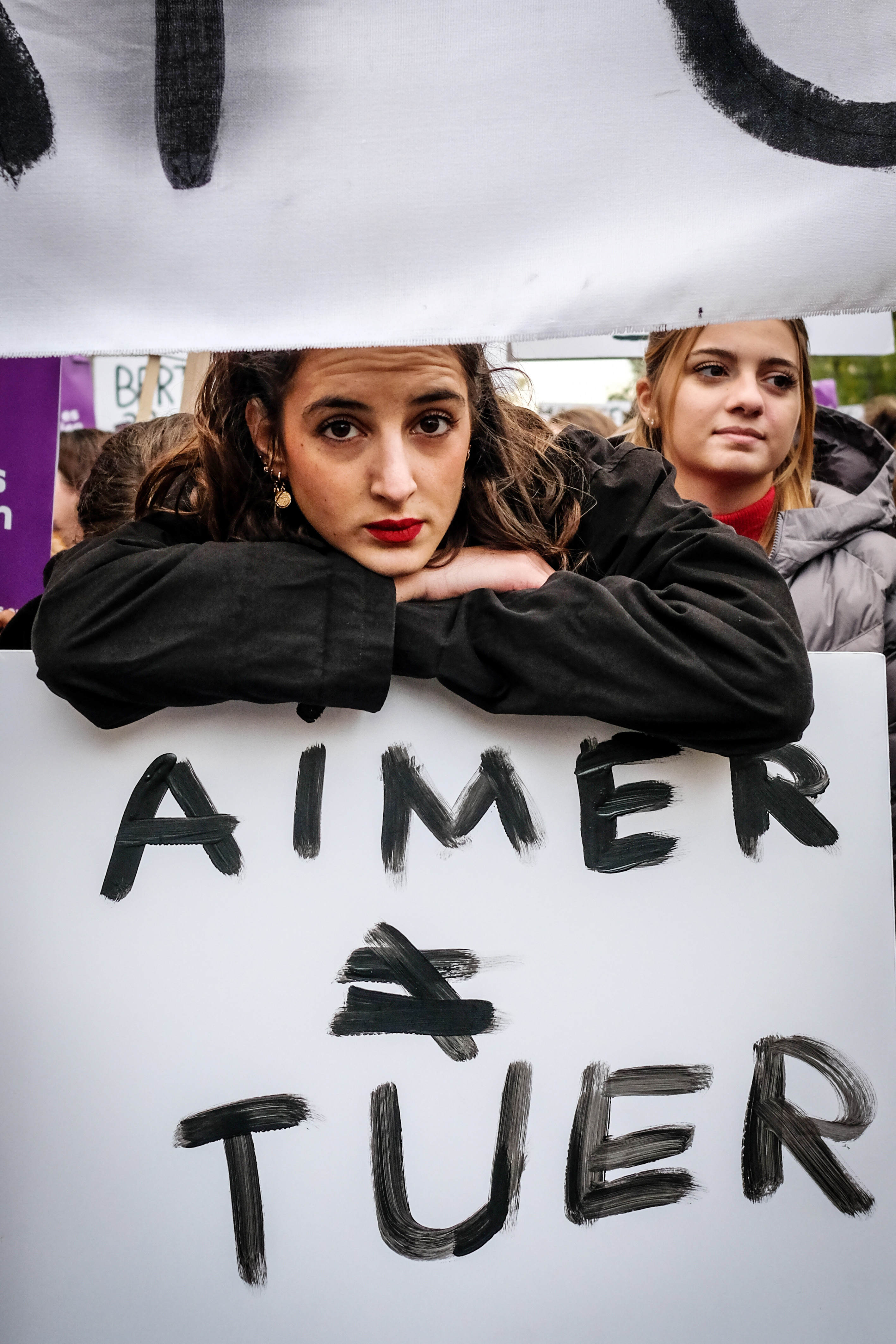 """Marche """" contre les féminicides, les violences sexistes et sexuelles """", à l'initiative du collectif NousToutes, Paris, 23 novembre 2019. © Elko Hirsch/ Hans Lucas/ AFP."""