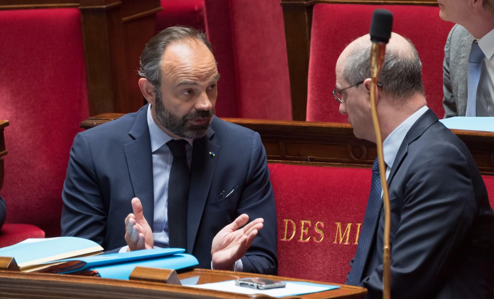 Le Premier ministre Edouard Philippe face à son ministre de l'Education, mardi 21 avril à l'Assemblée nationale © Jacques Witt/SIPA Numéro de reportage: 00957382_000008