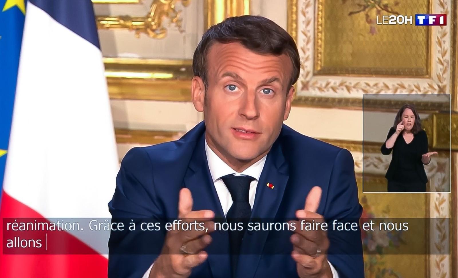 Allocution télévisée d'Emmanuel Macron, le 13 avril 2020 © Jacques Witt/SIPA Numéro de reportage: 00955772_000009