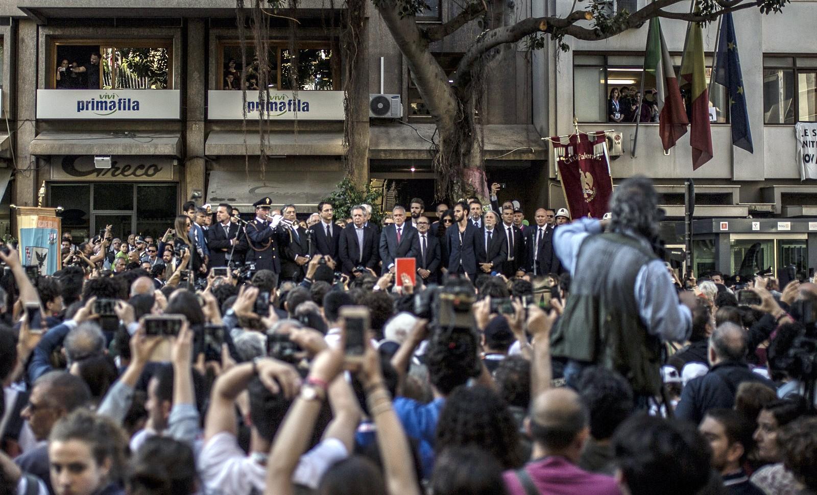 Marche en hommage au juge Falcone, vingt-six ans après son assassinat par la mafia sicilienne, Palerme, 23 mai 2018. © Victoria Herranz/NurPhoto/AFP