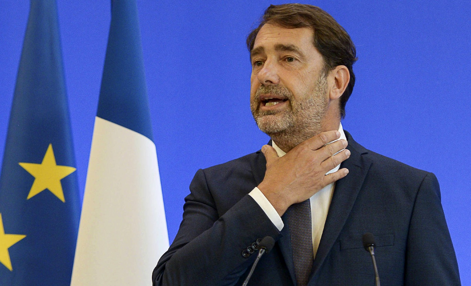 """Christophe Castaner, lundi 8 juin 2020, annonce des mesures contre les """"violences policières"""" © Isa Harsin/AP/SIPA Numéro de reportage: AP22462648_000001"""