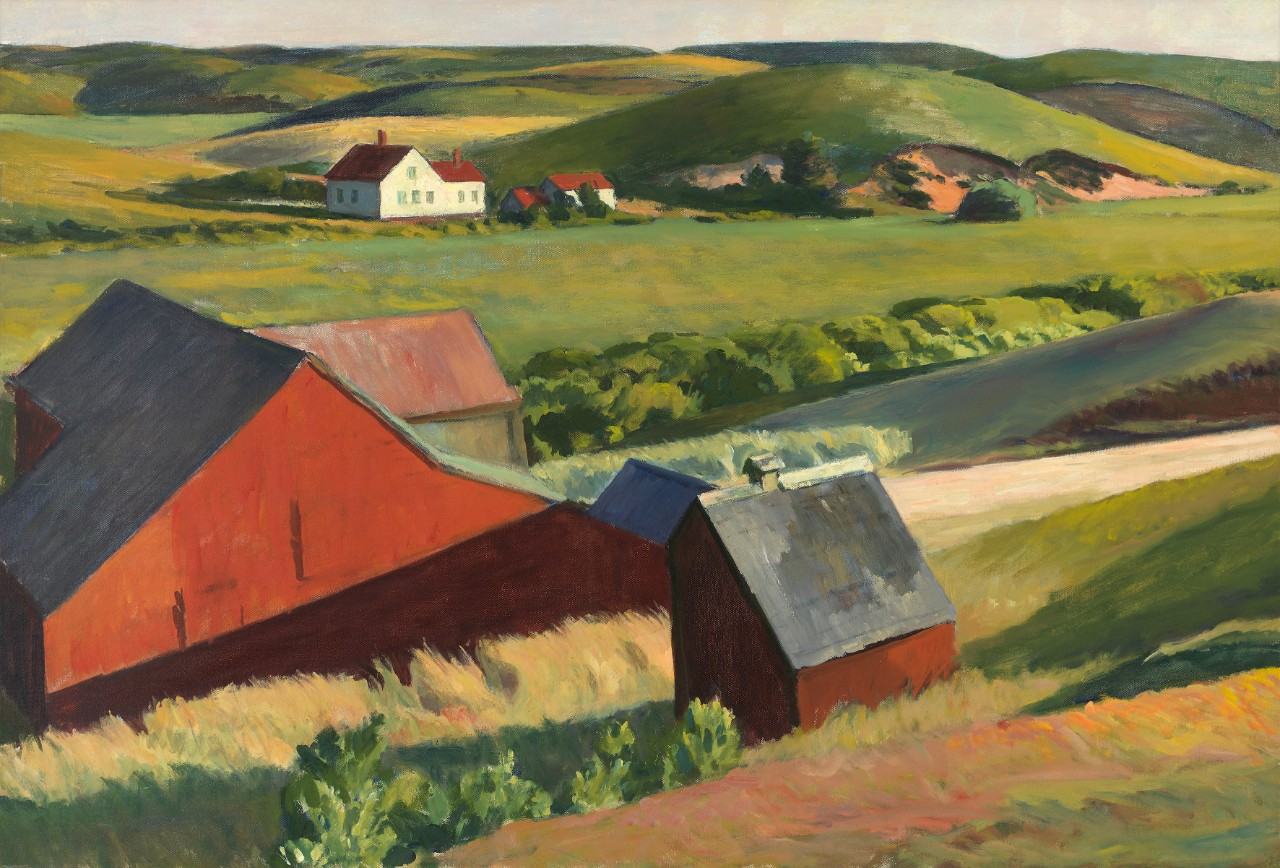 Edward Hopper Cobb's Barns and Distant Houses, 1930–1933 Huile sur toile, 74 x 109.5 cm Whitney Museum of American Art, New York, legs de Josephine N. Hopper © Heirs of Josephine Hopper / 2019, ProLitteris, Zurich Photo : © 2019. Digital image Whitney Museum of American Art / Licensed by Scala