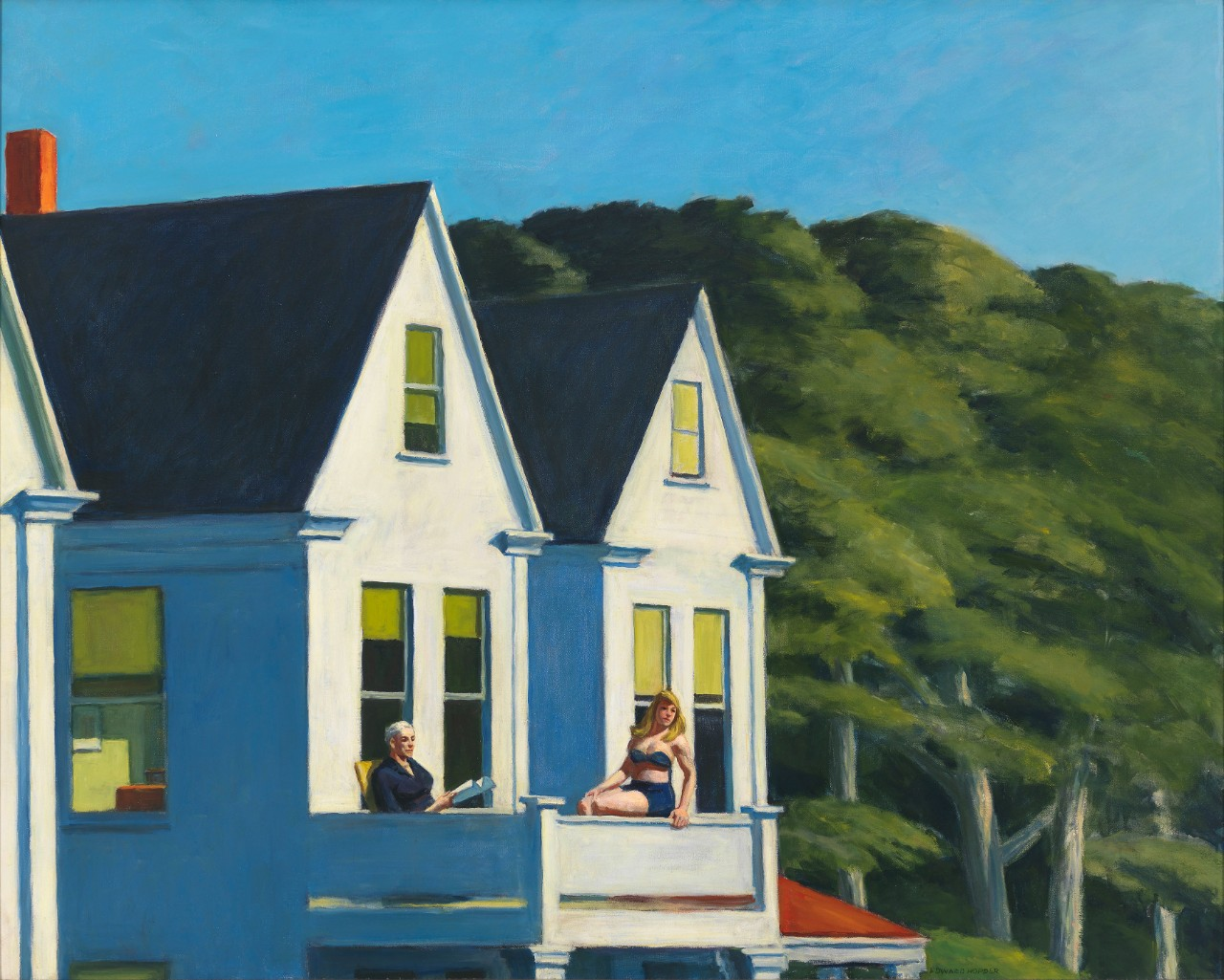 Edward Hopper Second Story Sunlight, 1960 Huile sur toile, 102.1 x 127.3 cm Whitney Museum of American Art, New York ; Purchase, with funds from the Friends of the Whitney Museum of American Art © Heirs of Josephine Hopper / 2019, ProLitteris, Zurich Photo : © 2019. Digital image Whitney Museum of American Art / Licensed by Scala