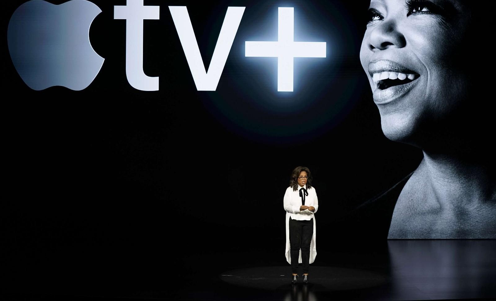 La vedette Oprah Winfrey  présente le nouveau service Apple tv + au siège de la marque à Cupertino en Californie, le 25 mars 2019 © Tony Avelar/AP/SIPA Numéro de reportage: AP22320417_000007