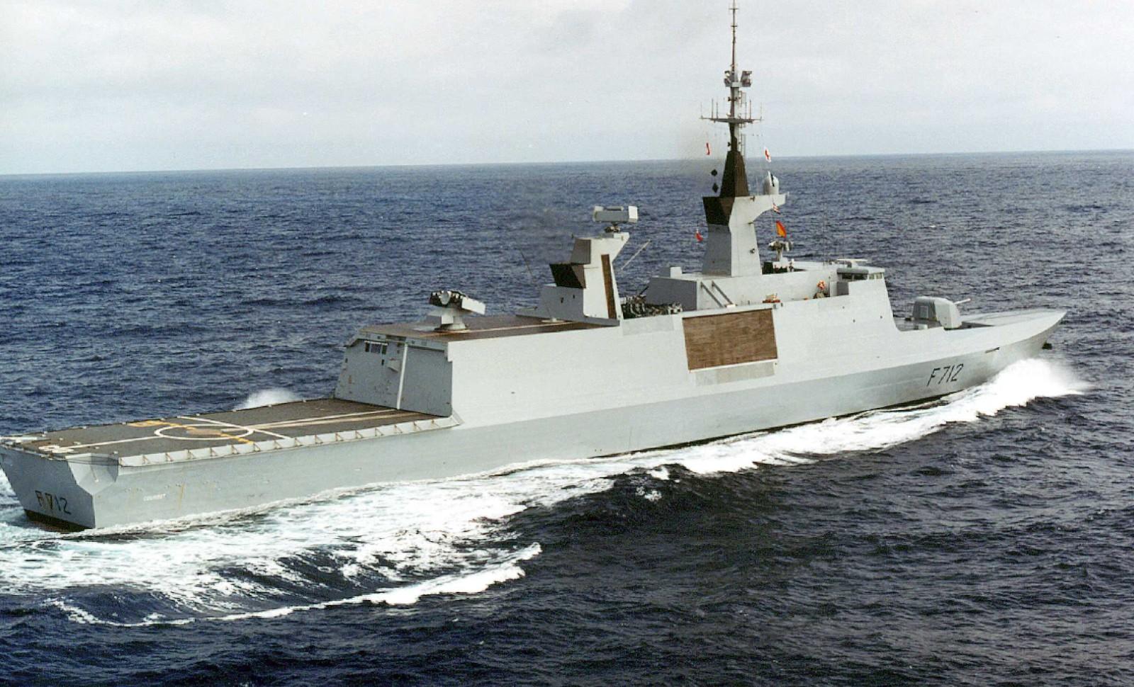La frégate Courbet, image d'archive, a été la cible d'un grave incident naval avec les Turcs le 10 juin au large de la Libye © SIRPA/SIPA Numéro de reportage: 00434969_000002