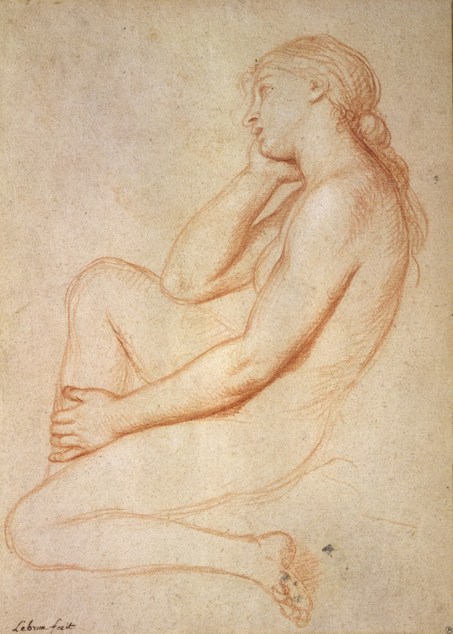 Charles Le Brun - Femme nue accroupie