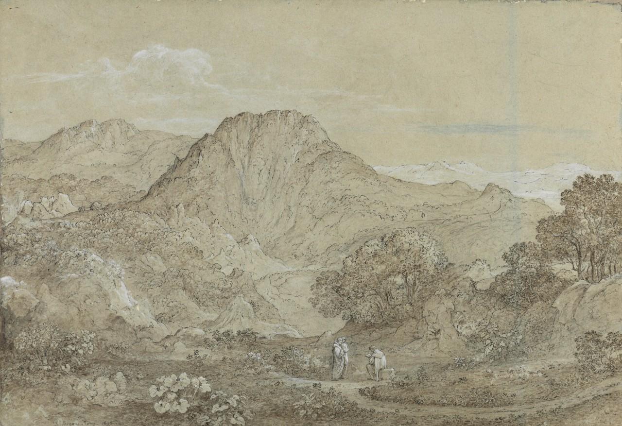 Nicolas-Didier Boguet - Paysage montagneux aux trois moines