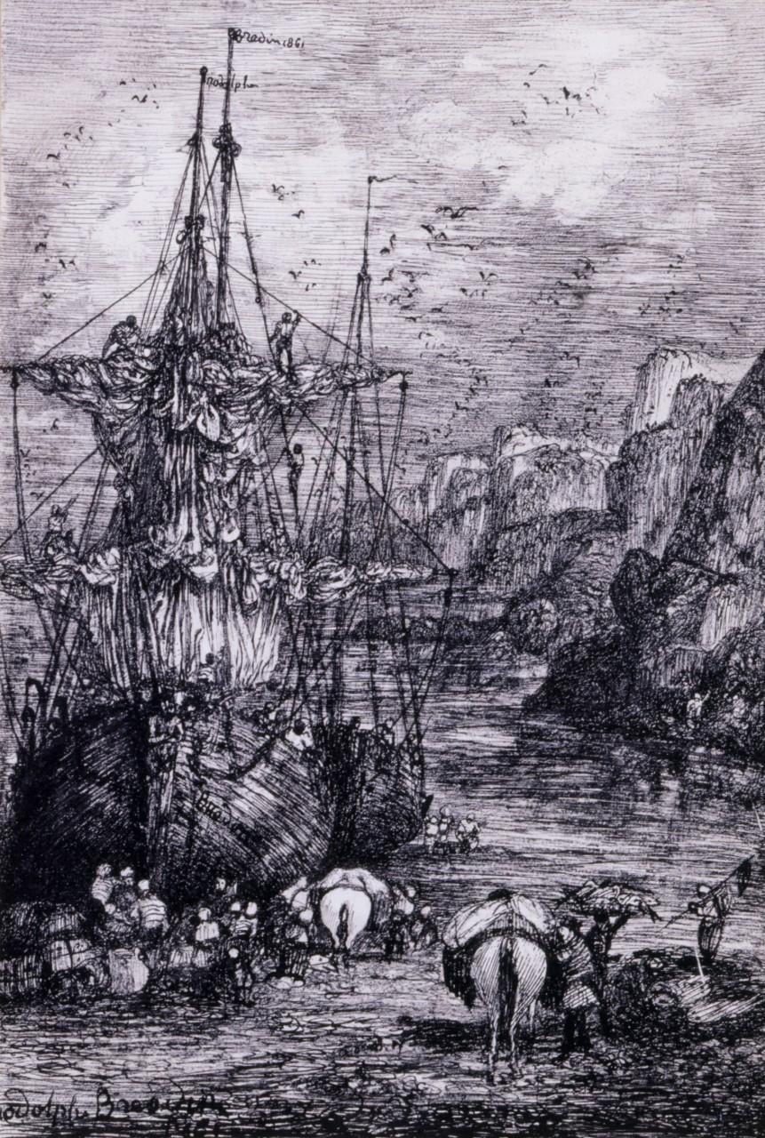 Rodolphe Bresdin - Navires au port