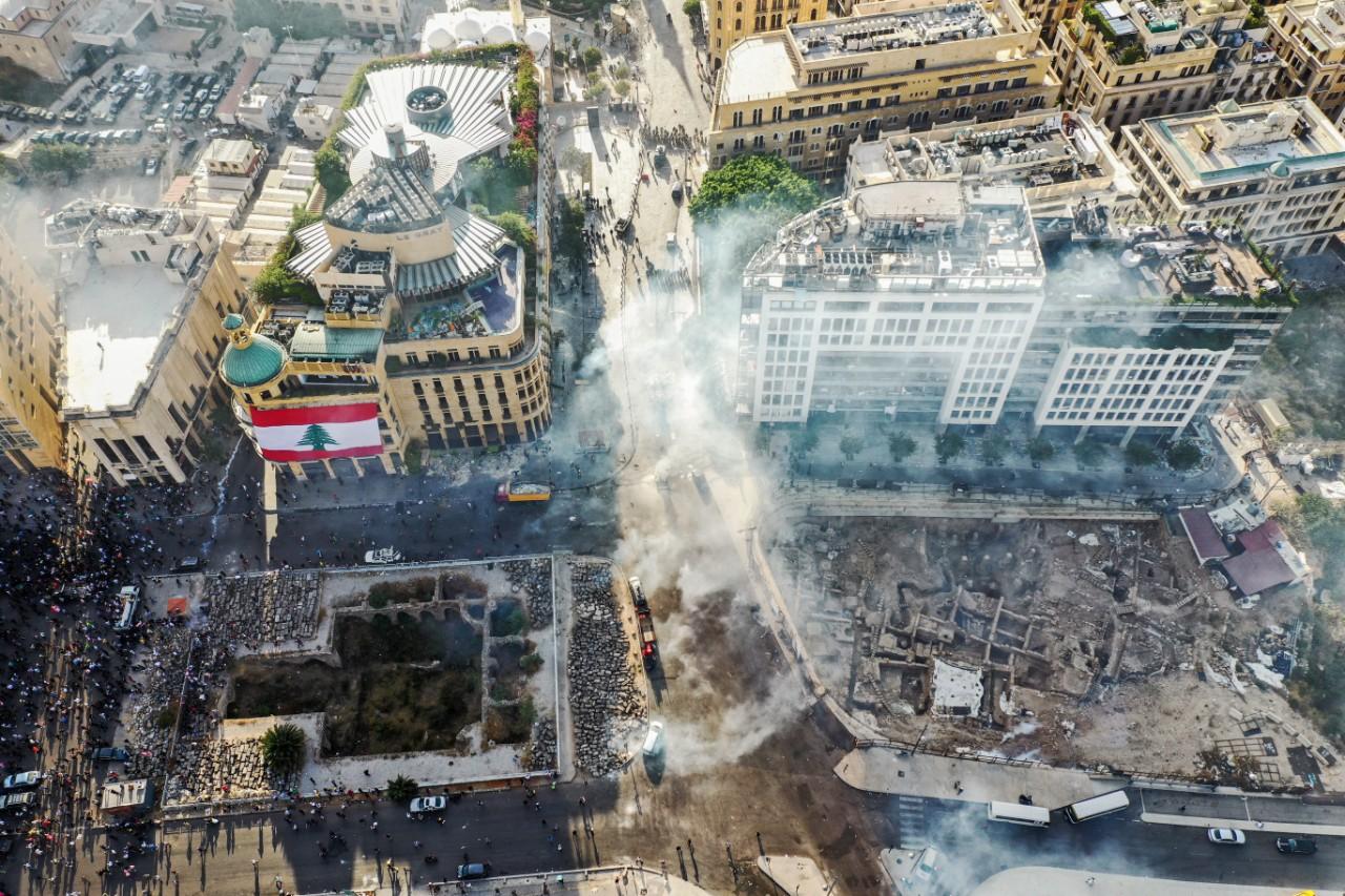 Vu du ciel, le centre-ville de Beyrouth dévasté, 8 août 2020 © AFP