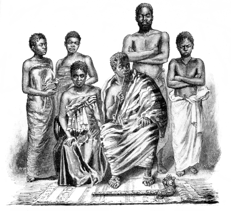 Gravure intitulée «Béhanzin et sa famille» publiée en 1895 dans le livre d'Edouard Foa Le Dahomey. Béhanzin est l'homme assis au milieu fumant la pipe. D.R.