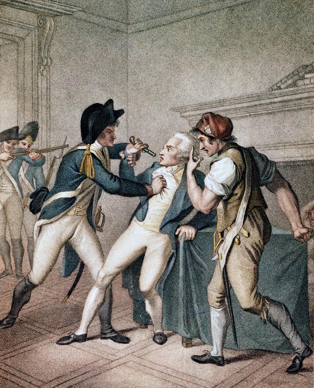 Arrestation de Robespierre, gravue de Giacomo Aliprandi, 1796.© Bianchetti/Leemage
