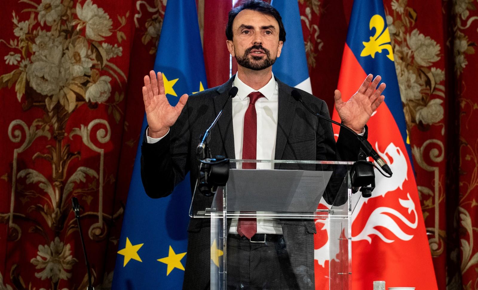 Discours de Gregory Doucet après son élection à la mairie de Lyon, 4 juillet 2020.© JEFF PACHOUD/AFP