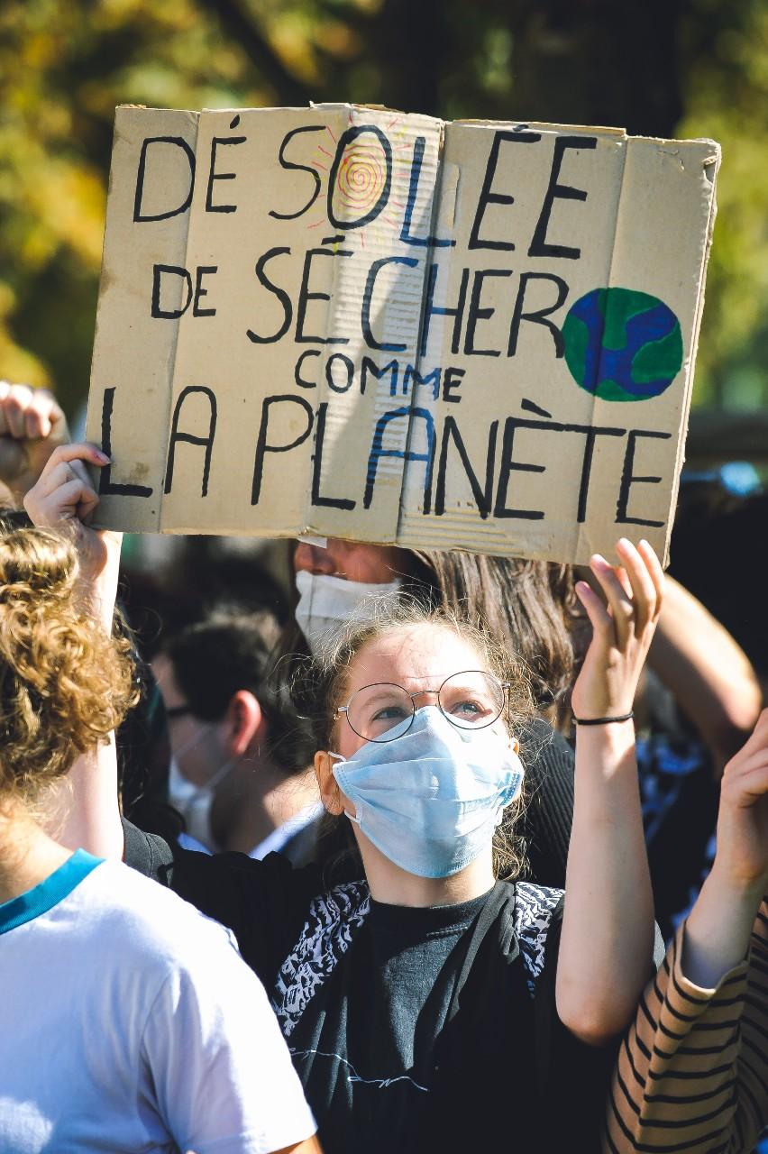 """""""Grève scolaire pour le climat"""", Rennes, 20 septembre 2019.© Valentin Belleville/Hans Lucas/AFP"""