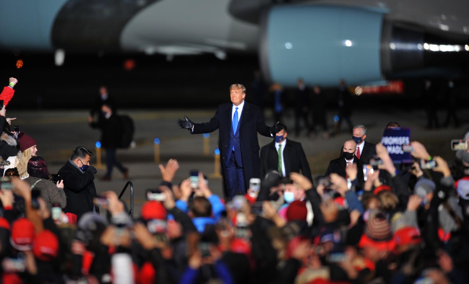 Donald Trump en meeting à Omaha (Nebraska), 27 octobre 2020. © Steve Pope/Getty Images/AFP.