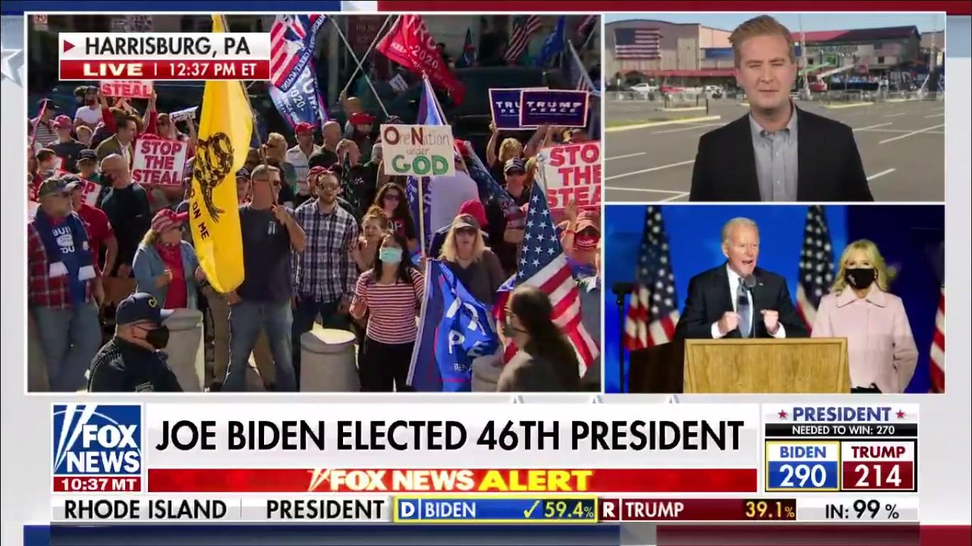 Samedi 7 novembre 2020 à la mi-journée, les médias américains ont commencé à annoncer une victoire électorale de Joe Biden. Ici, capture d'écran Fox News.