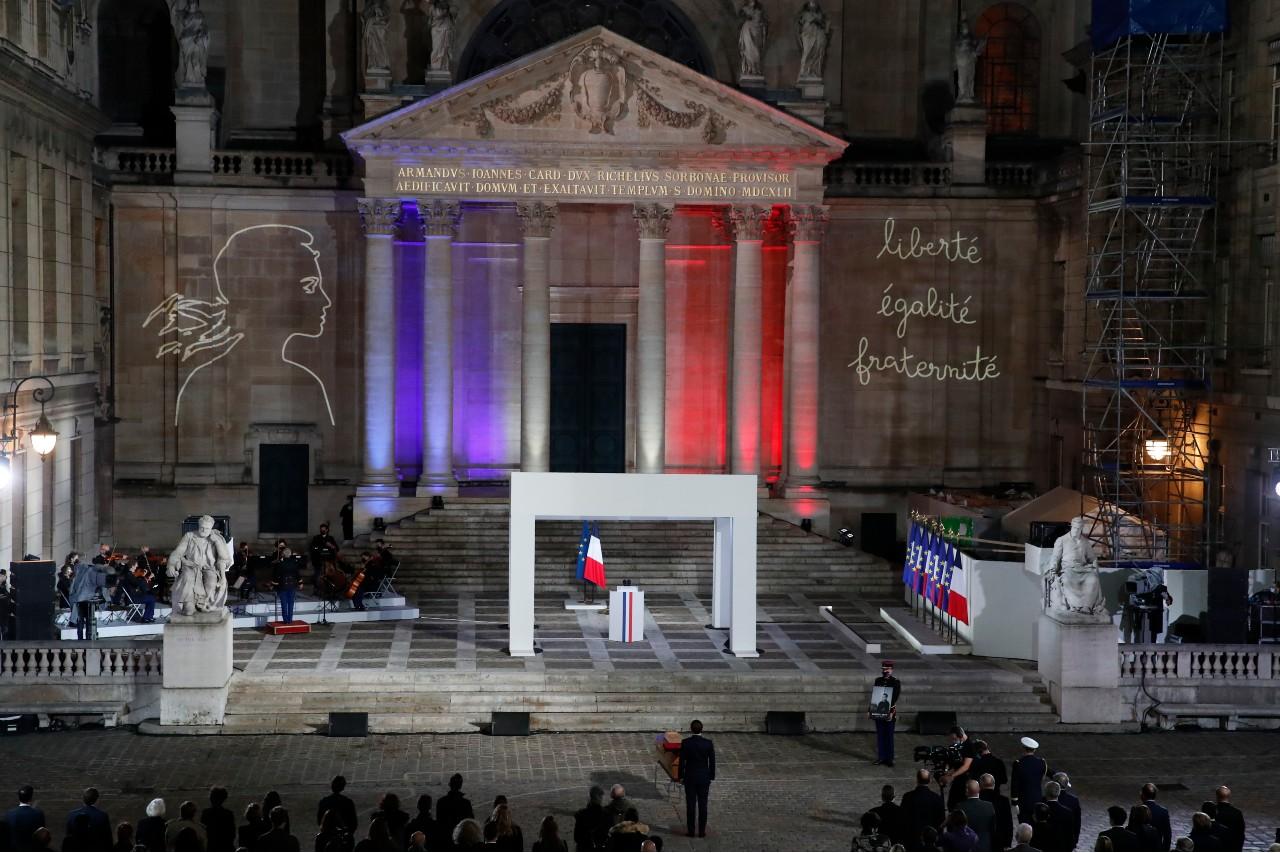 Cérémonie d'hommage national à Samuel Paty à la Sorbonne, Paris, 21 octobre 2020. © François Mori/ POOL/ AFP