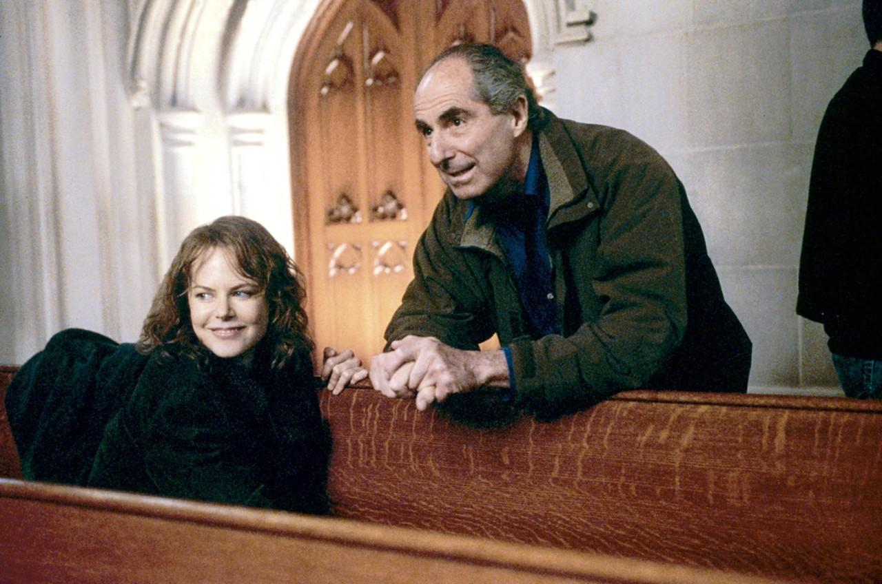 Philip Roth et Nicole Kidman, sur le tournage du film La Couleur du mensonge de Robert Benton, 2003