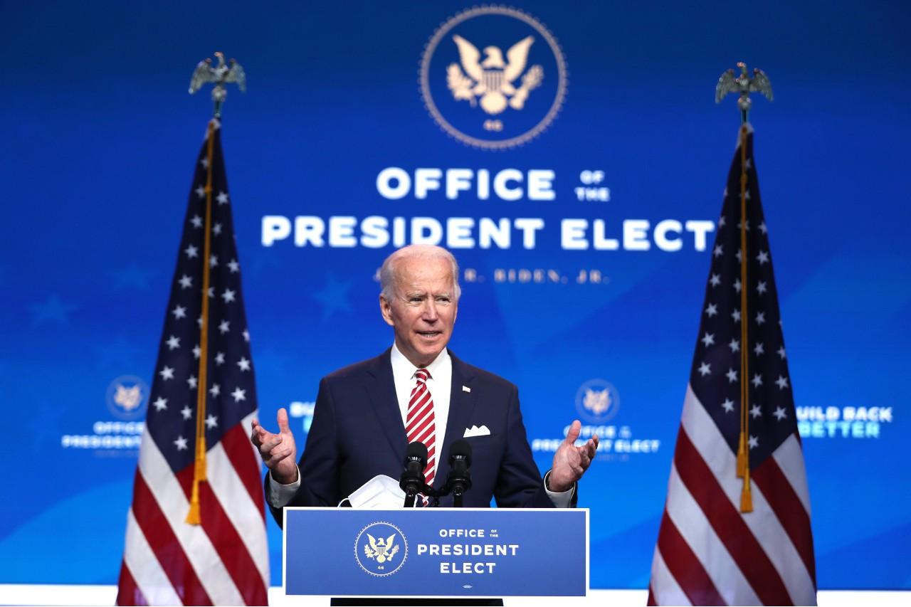 Joe Biden lors d'une conférence de presse à Wilmington, Delaware, 16 novembre 2020. © Joe Raedle/Getty Images/AFP