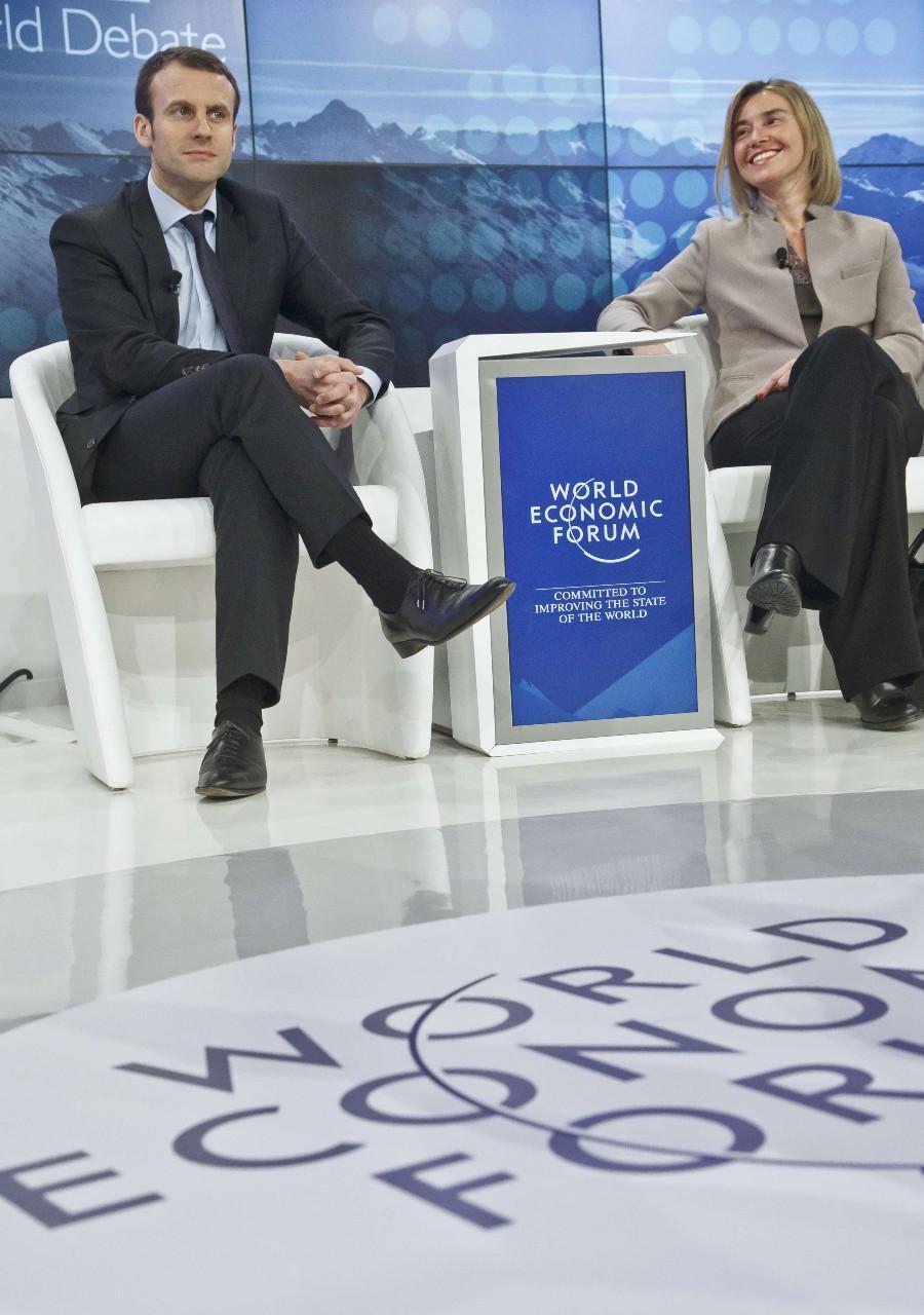 Emmanuel Macron au Forum économique mondial, Davos, 24 janvier 2018. © Fabrice Coffrini/AFP