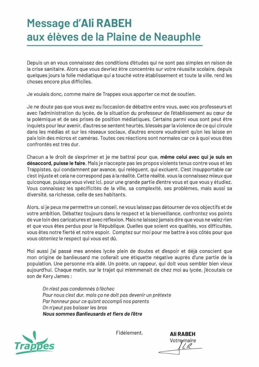 Le tract du maire Ali Rabeh.