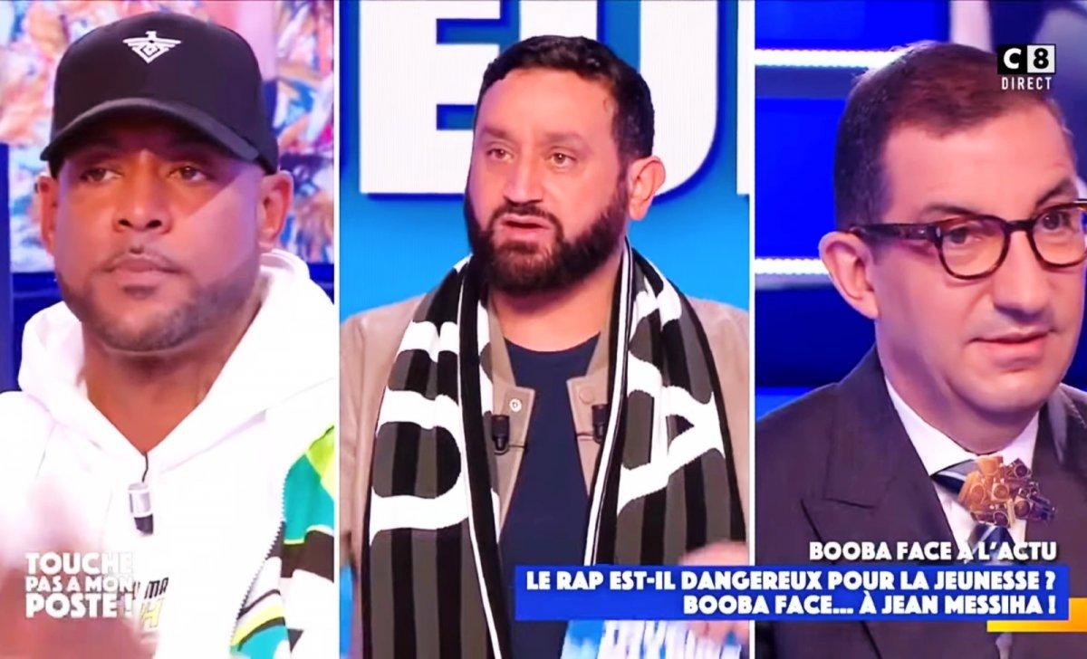 De gauche à droite, Booba, Cyril Hanouna, Jean Messiha. Image: capture d'écran YouTube