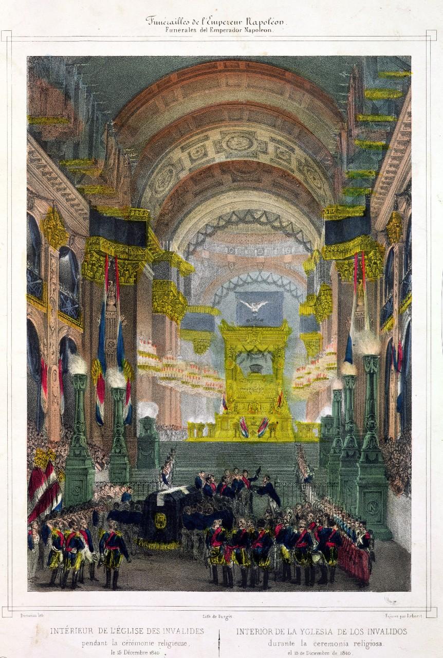 """""""Le retour des cendres de Napoléon à l'église des Invalides"""" (lithographie), 1840 © Bridgeman Images/Leemage"""